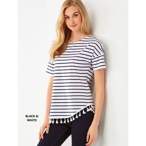 Charlie Paige Black White Striped Fringe Top